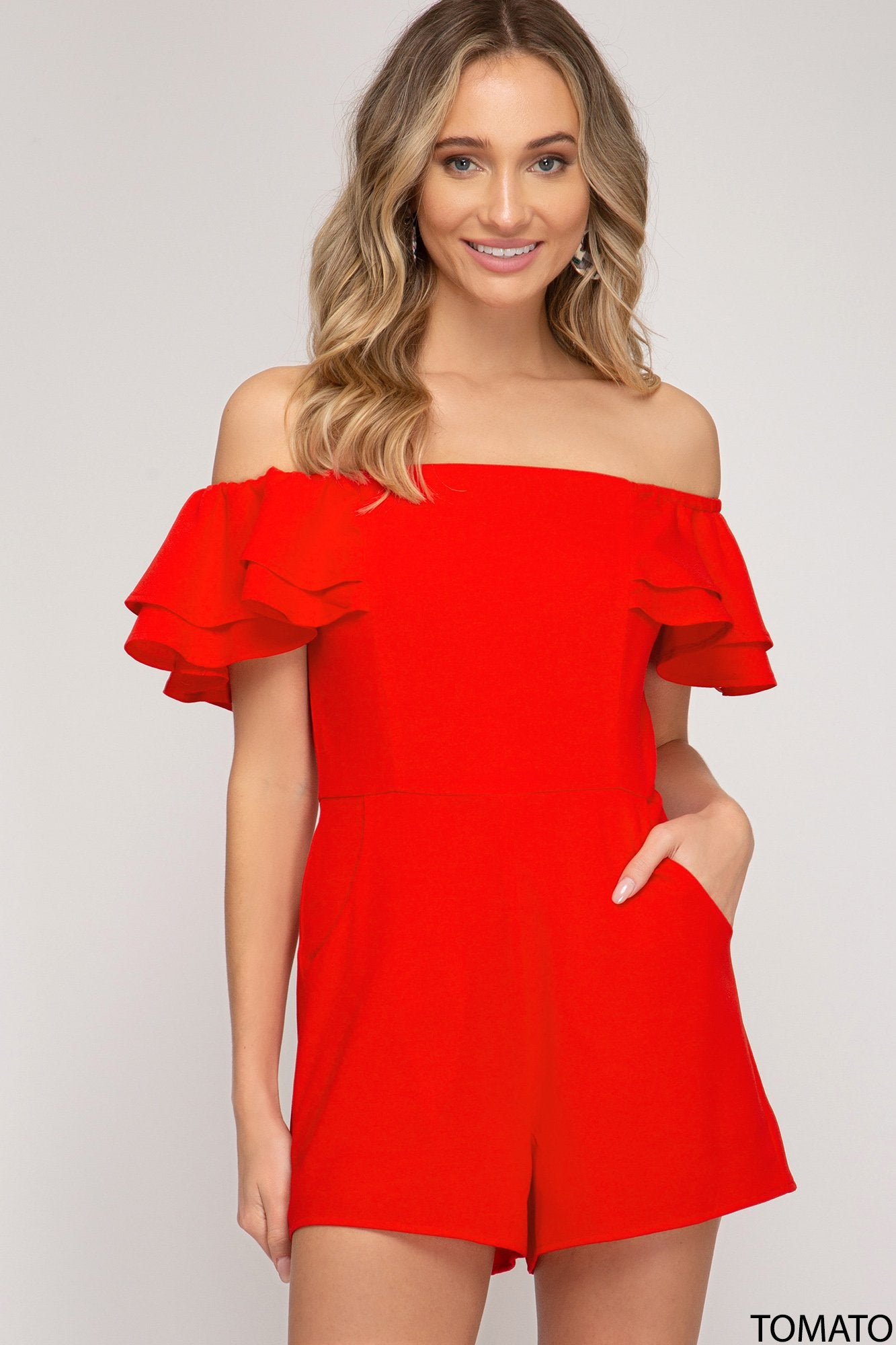 SHE AND SKY Women's Romper TOMATO / S Off Shoulder Romper With Pockets || David's Clothing SS3790