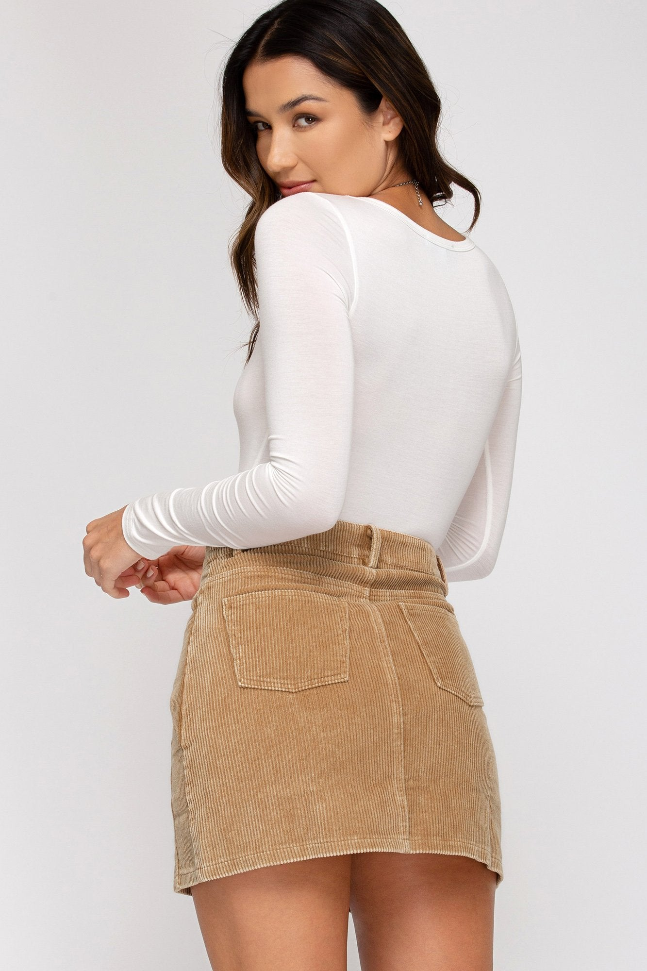 SHE AND SKY Women's Skirts Washed Corduroy Mini Skirt || David's Clothing