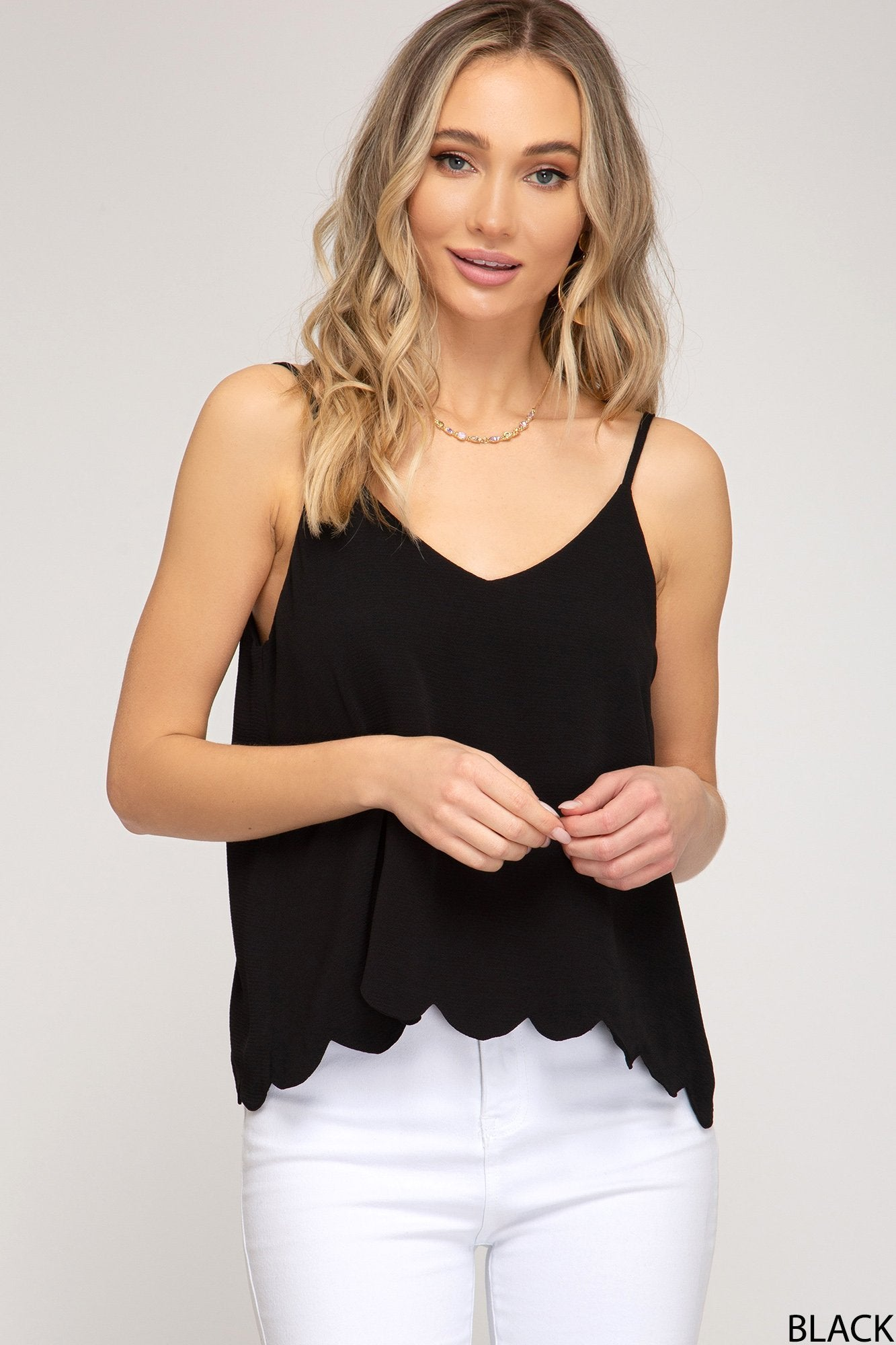 SHE AND SKY Women's Top BLACK / S She And Sky Woven Cami Top With Scalloped Hem || David's Clothing  SS3510