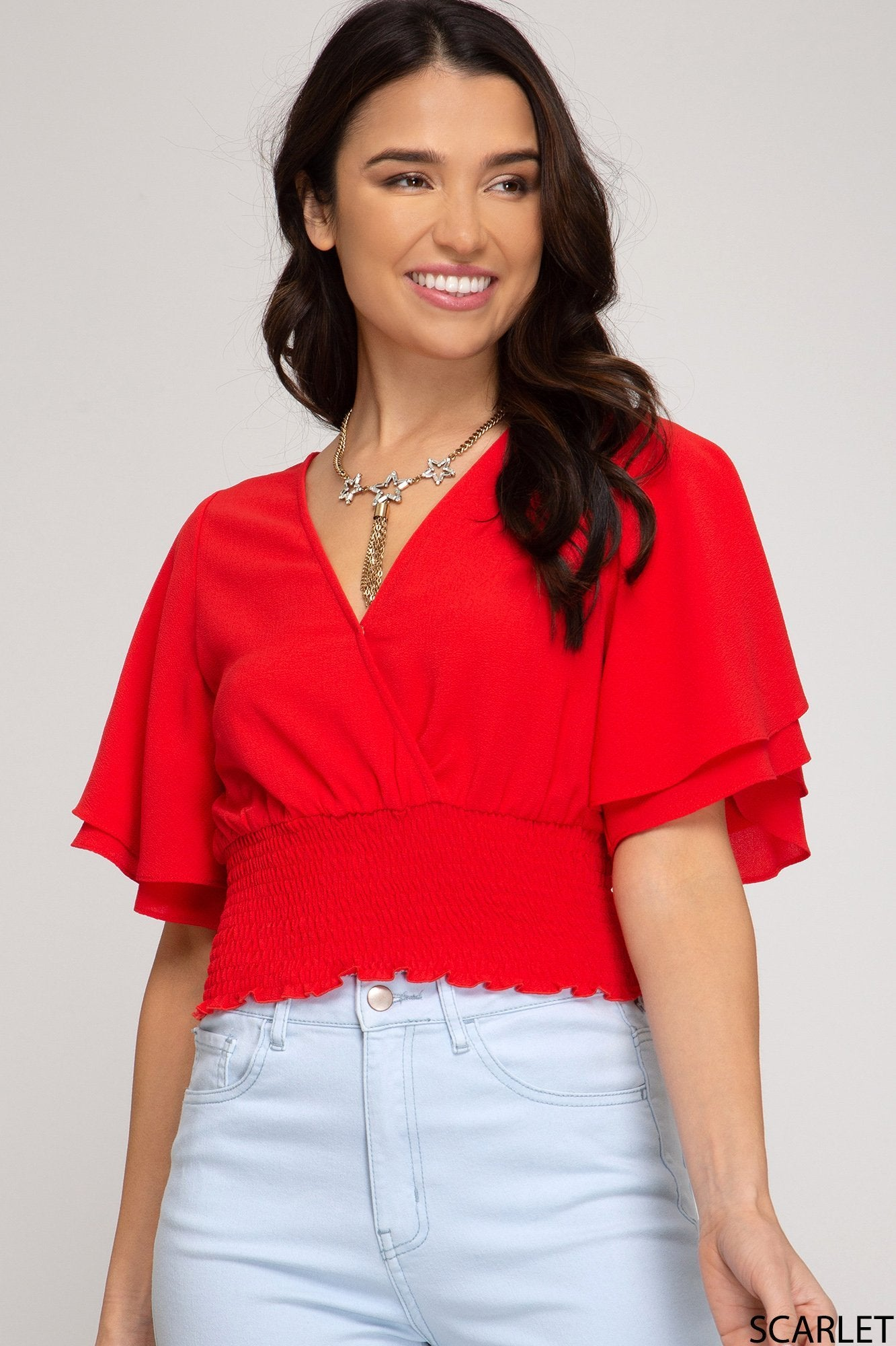 SHE AND SKY Women's Top RED / S She and Sky Half Double Ruffle Sleeve Surplice Top || David's Clothing SS2797