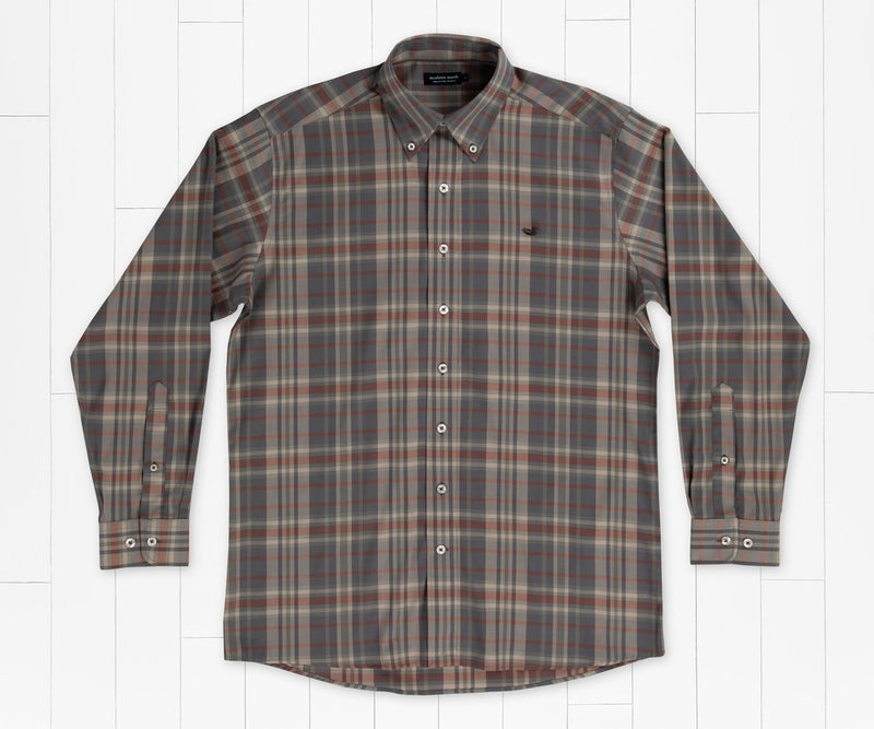 SOUTHERN MARSH COLLECTION 11-Mat Men Woven Shi BURNT TAUPE / M Southern Marsh Blanco Plaid Dress Shirt || David's Clothing VBCOBTBN