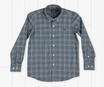 SOUTHERN MARSH COLLECTION Kid's Tops Southern Marsh Youth Bristol Performance Plaid Dress Shirt || David's Clothing