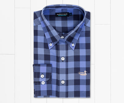 SOUTHERN MARSH COLLECTION Men's Sport Shirt NAVY / S Southern Marsh Blanco Plaid Dress Shirt || David's Clothing VJALNVBL