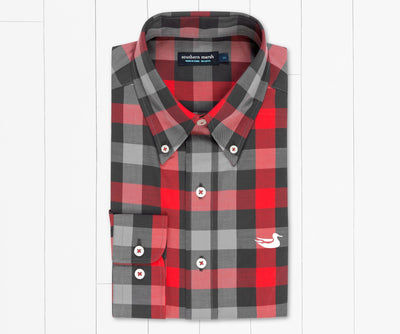 SOUTHERN MARSH COLLECTION Men's Sport Shirt RED/BLACK / S Southern Marsh Jalisco Gingham Dress Shirt || David's Clothing VJALRDBK