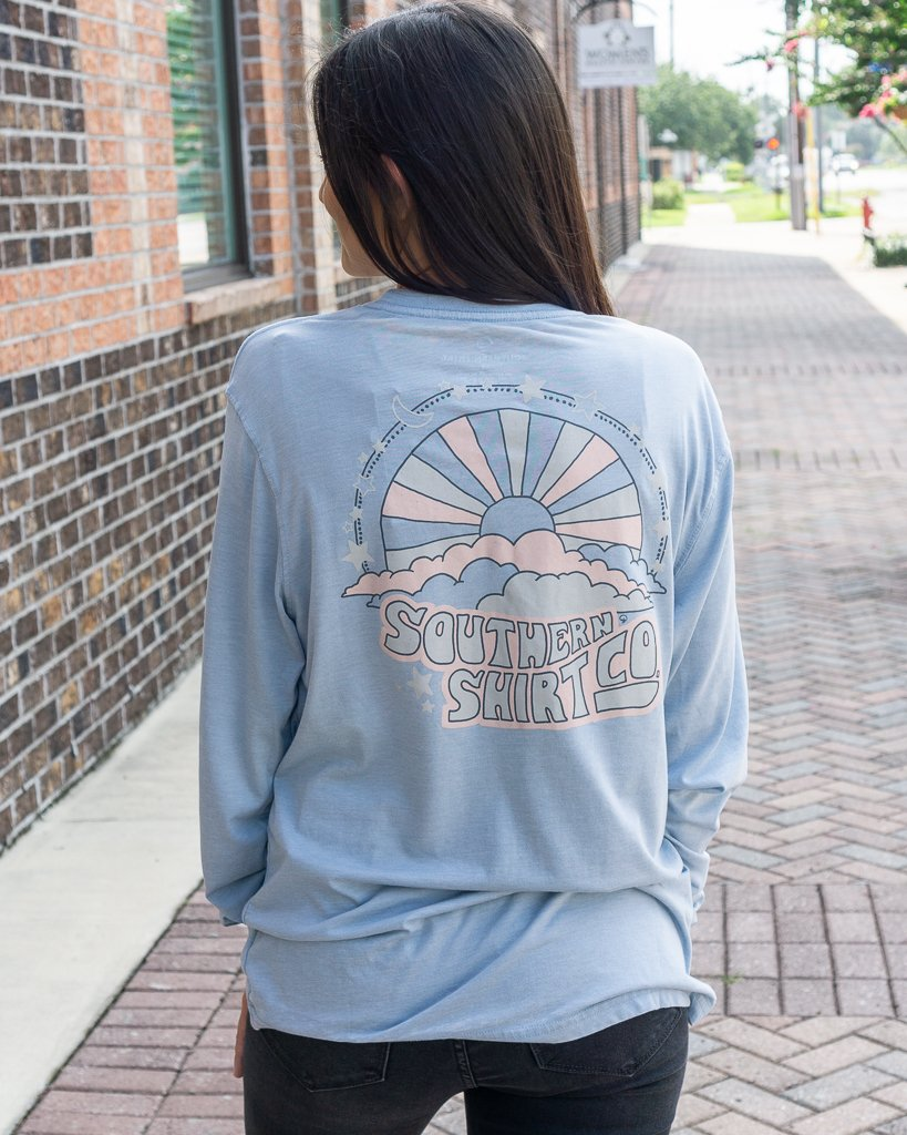 SOUTHERN SHIRT CO. Women's Tees DUSTY BLUE / XS Southern Shirt Eternal Sunshine LS Tee || David's Clothing 2T183-676