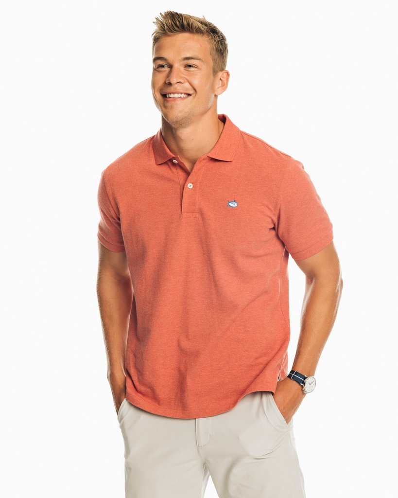 SOUTHERN TIDE Men's Polo TERRA HEA / M Southern Tide Skipjack Heathered Polo Shirt || David's Clothing 19072457