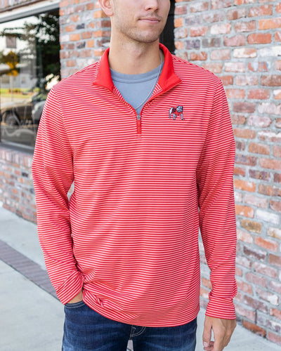 SOUTHERN TIDE Men's Pullover Southern Tide Georgia Bulldogs Striped Quarter Zip Pullover || David's Clothing