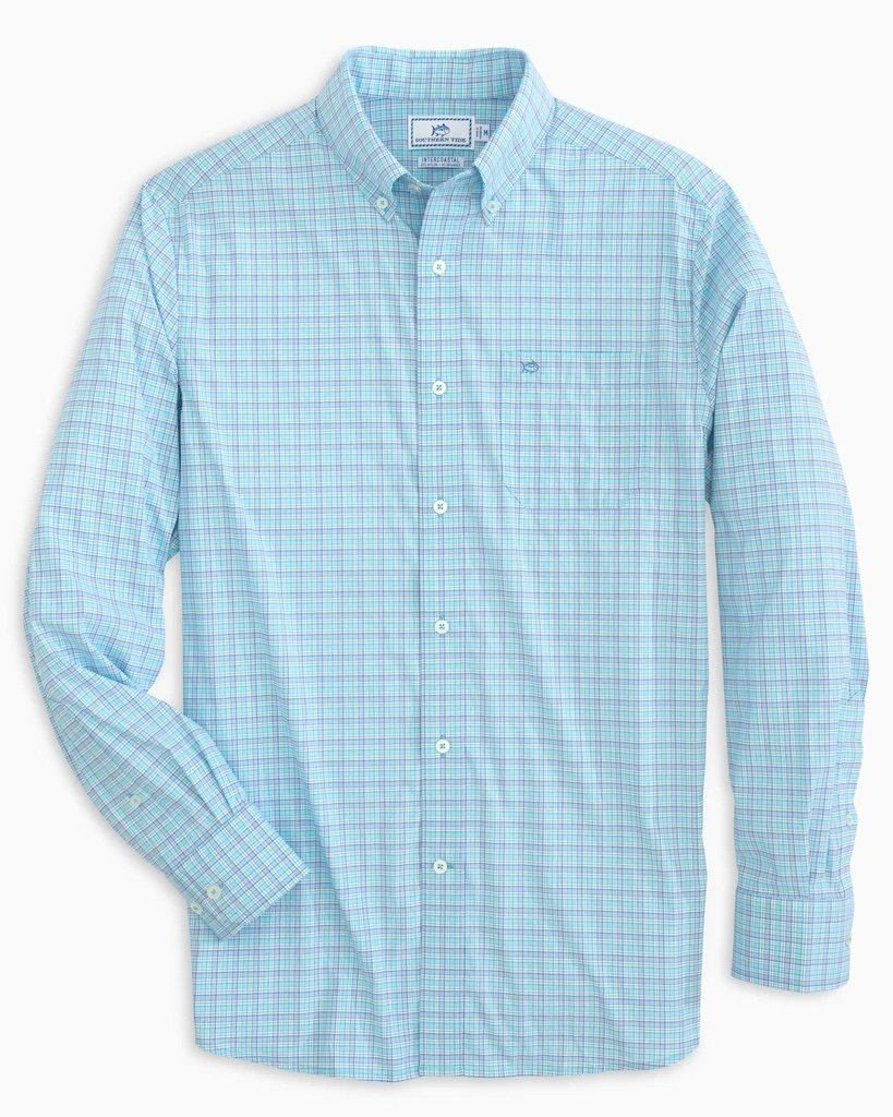 SOUTHERN TIDE Men's Sport Shirt SCUBA BLUE / S Southern Tide Basin Minicheck Intercoastal Sport Shirt || David's Clothing 74361204