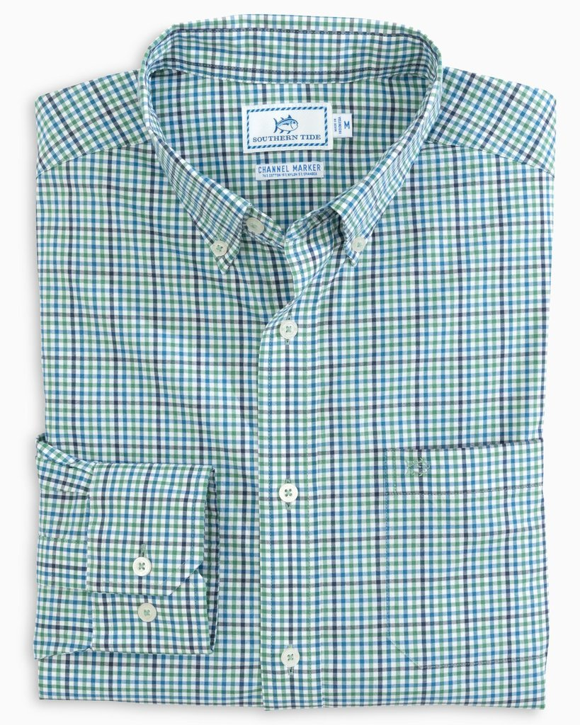 SOUTHERN TIDE Men's Sport Shirt Southern Tide Coastal Passage Tattersall Sport Shirt || David's Clothing