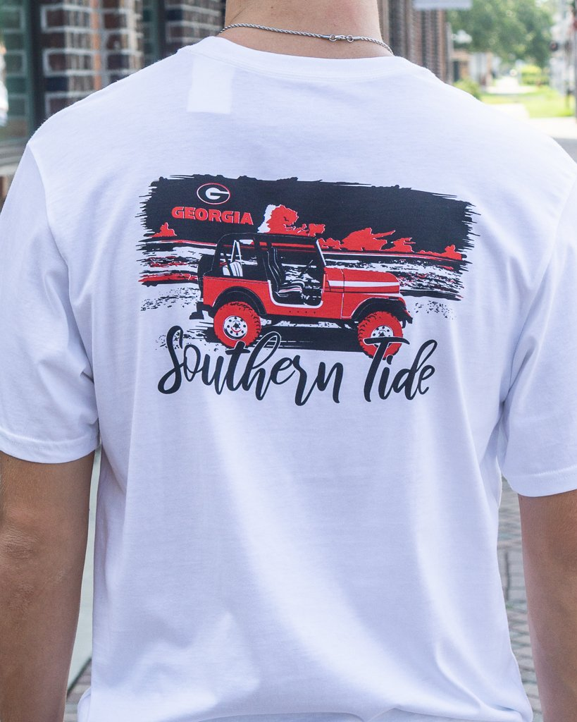 SOUTHERN TIDE Men's Tees Southern Tide UGA Sunset Tee || David's Clothing