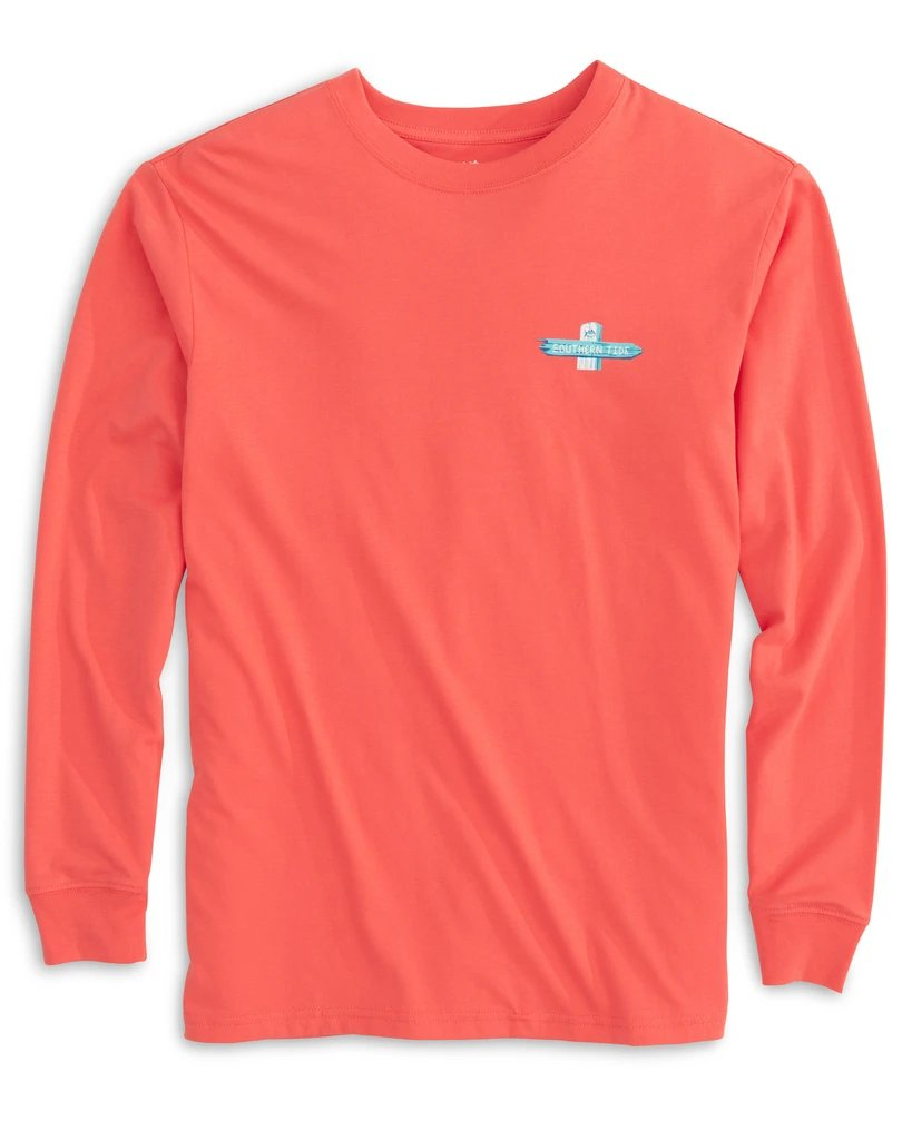 SOUTHERN TIDE Women's Tees Southern Tide Weathered Beach Signs Long Sleeve T-Shirt || David's Clothing