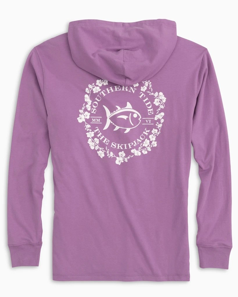 SOUTHERN TIDE Women's Tees Southern Tide Women's Orchid Skipjack Hoodie T-Shirt || David's Clothing