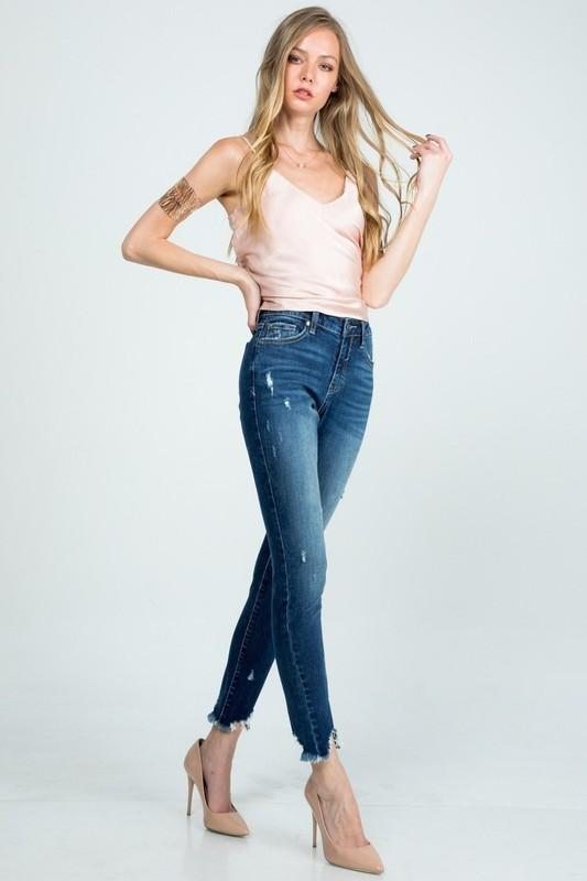 SPECIAL A Women's Pants Mid Rise Relaxed Roll Up Skinny || David's Clothing