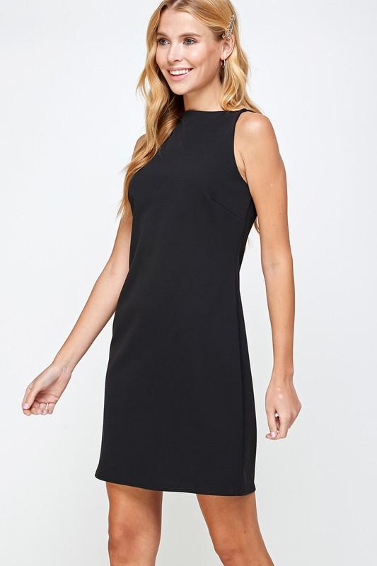 SUNG LIGHT Women's Dress Solid Crepe Shift Dress || David's Clothing