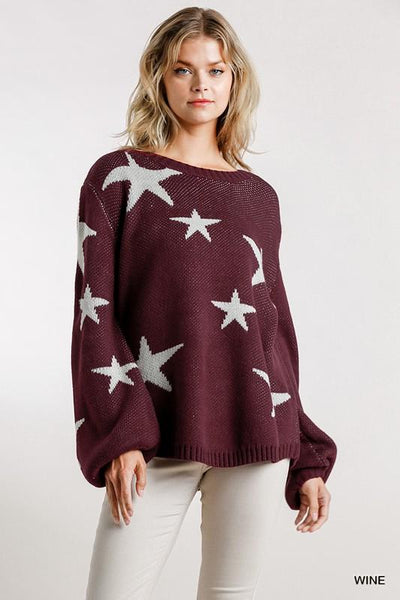 UMGEE USA Women's Sweater Star Pattern Puff Sleeve Pullover Sweater || David's Clothing