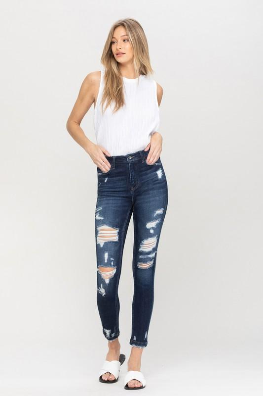 Vervet by Flying Monkey Women's Pants High Rise Heavily Distressed Ankle Skinny || David's Clothing