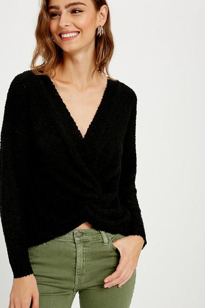 WISHLIST Women's Sweater BLACK / S/M Off The Shoulder Knotted Pullover || David's Clothing WL192900BL