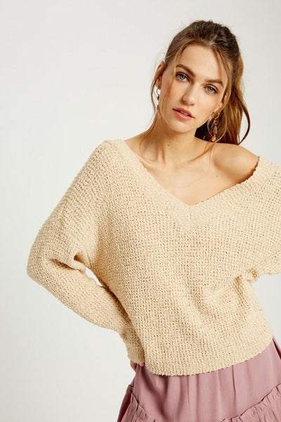WISHLIST Women's Sweater Off The Shoulder Knotted Pullover || David's Clothing