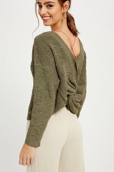 WISHLIST Women's Sweater OLIVE / S/M Off The Shoulder Knotted Pullover || David's Clothing WL192900OL