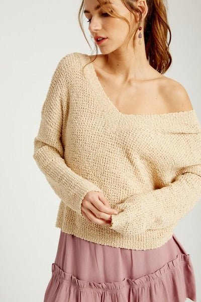 WISHLIST Women's Sweater TAUPE / S/M Off The Shoulder Knotted Pullover || David's Clothing WL192900TA