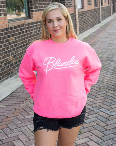 WKENDER Women's Sweater Hot Pink / S Blondie Graphic Sweatshirt || David's Clothing 3183SS02