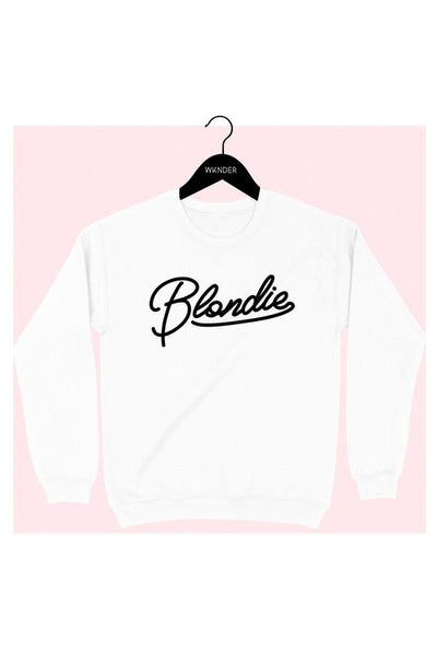 WKENDER Women's Sweater WHITE / S Blondie Graphic Sweatshirt || David's Clothing 3183SS02WH
