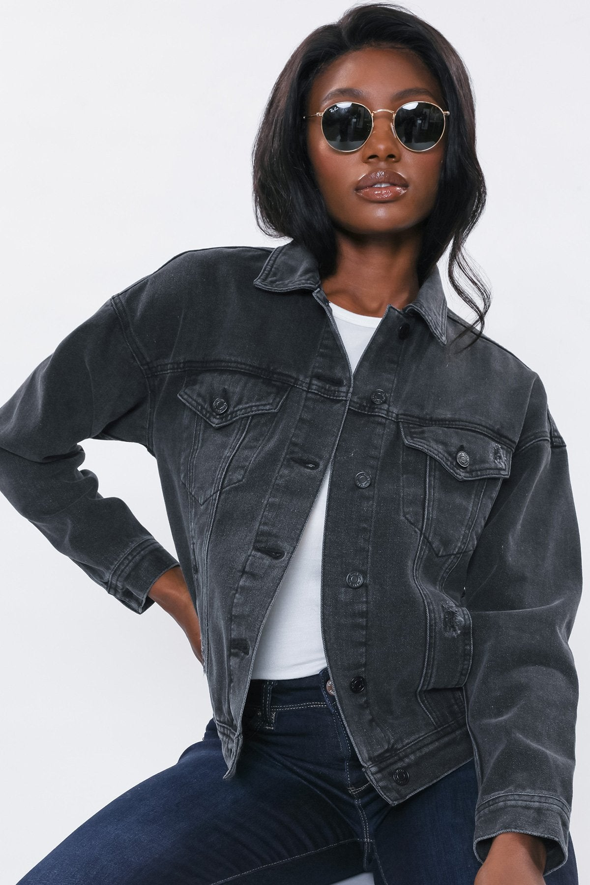 YMI JEANSWEAR Women's Outerwear YMI Junior Oversized Boyfriend Denim Jacket || David's Clothing