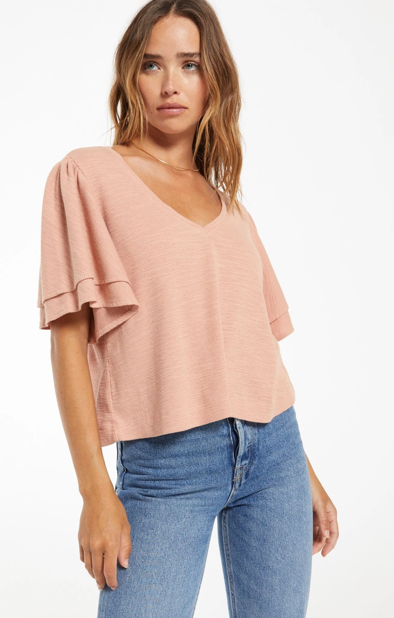 Z SUPPLY Women's Top Z Supply Blake Slub Ruffle Top || David's Clothing