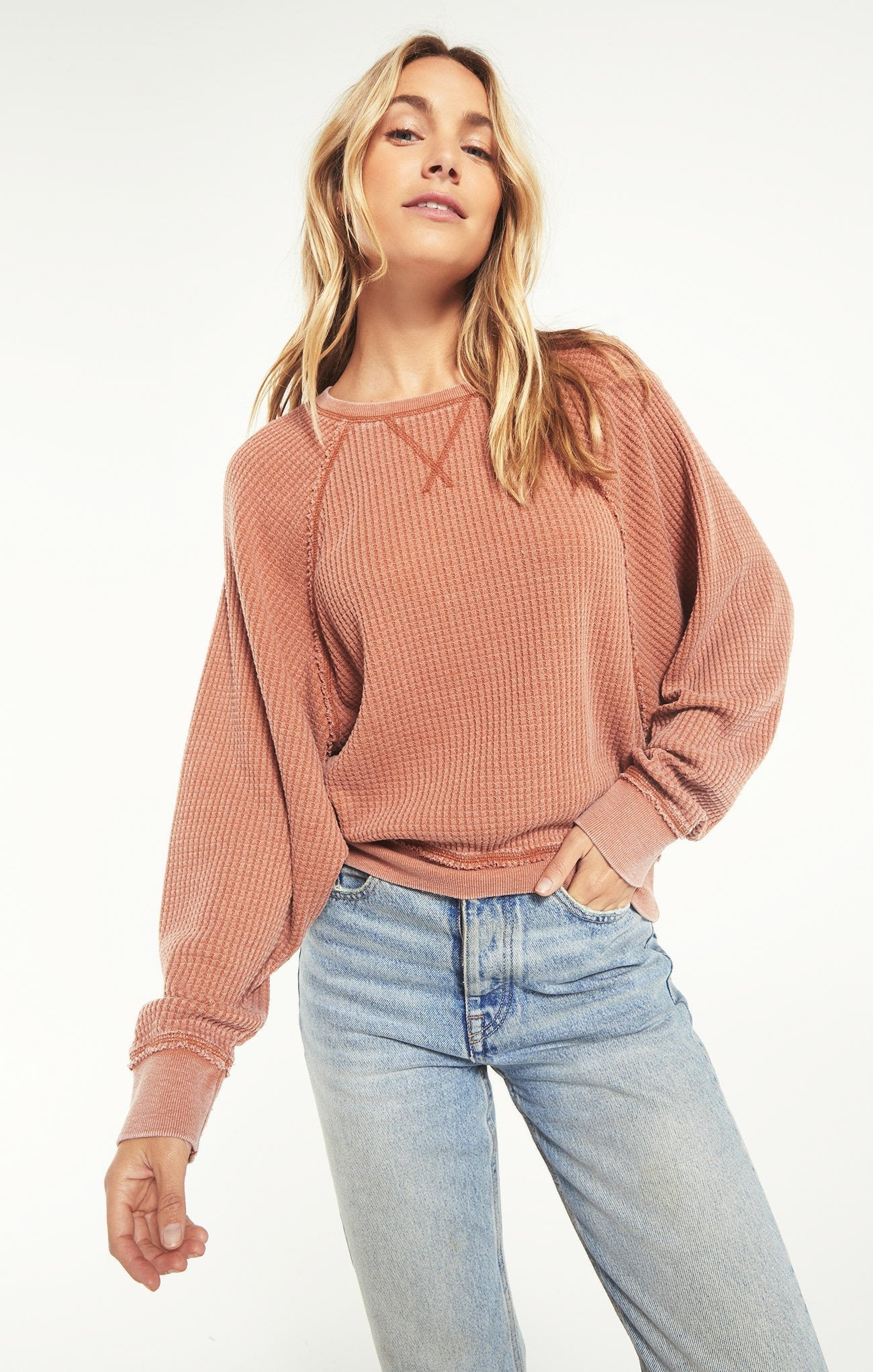 Z SUPPLY Women's Top Z Supply Claire Waffle Long Sleeve || David's Clothing