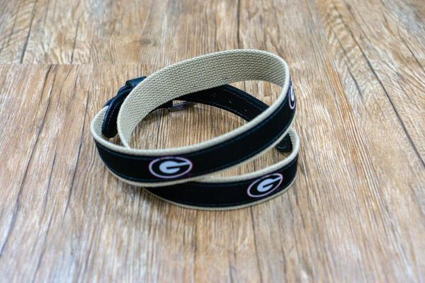 Zeppro Men's Belts Zeppro University of Georgia Ribbon Belt - Black || David's Clothing