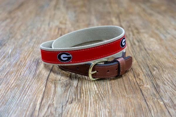 Zeppro Men's Belts Zeppro University of Georgia Ribbon Belt - Red || David's Clothing