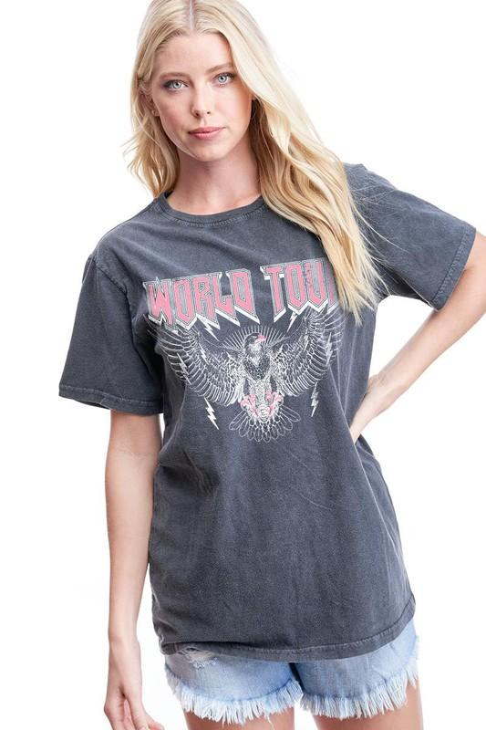 ZUTTER Women's Tees BLACK / S World Tour Graphic Tee || David's Clothing F8958-1142