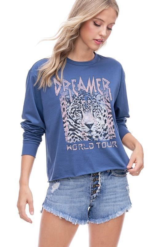ZUTTER Women's Tees Dreamer World Tour Graphic Cropped Tee || David's Clothing