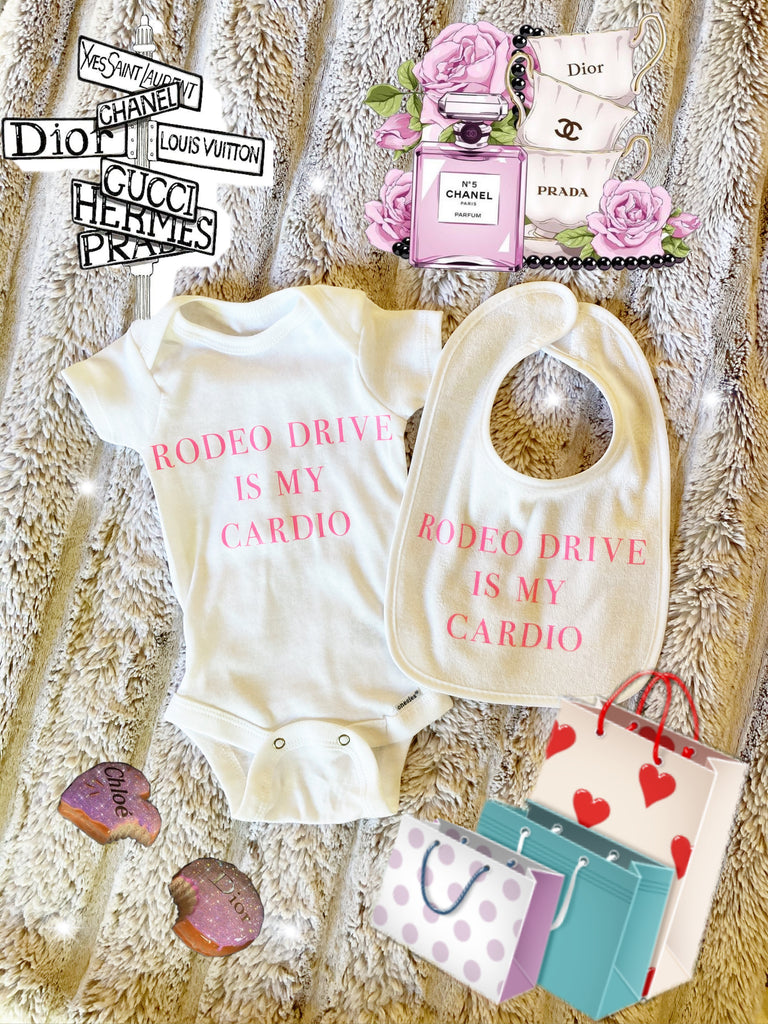 "Set Bib And Onesie ""Rodeo Drive Is My Cardio"""