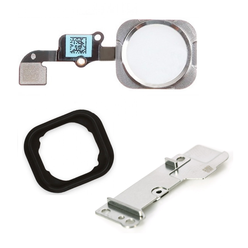Apple iPhone 6 / 6 Plus Home Button Flex Cable+Holder Rubber+Metal Bracket - White for [product_price] - First Help Tech