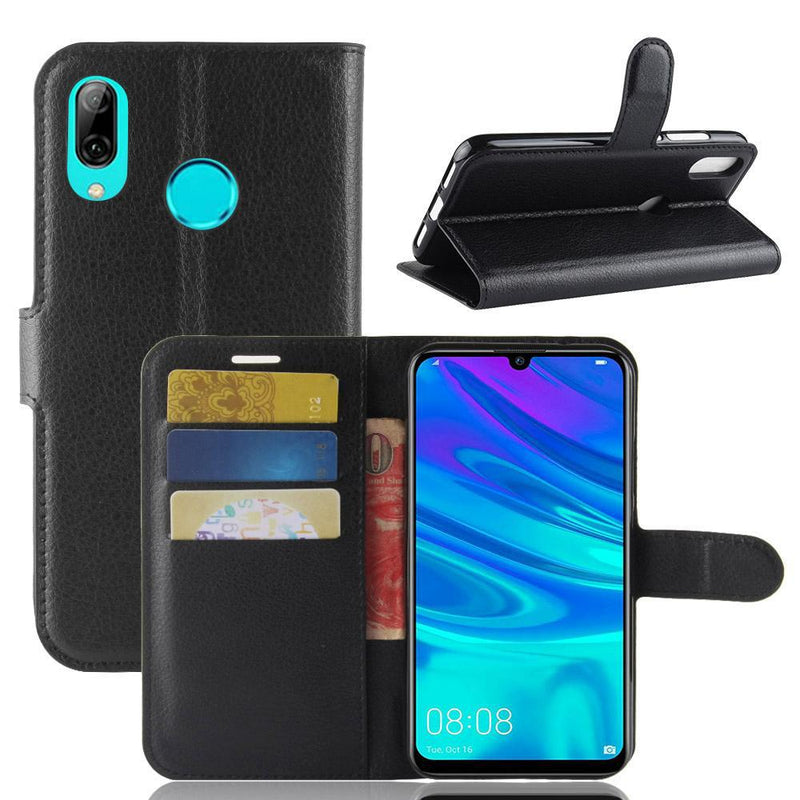 Huawei P30 Lite Wallet Case Cover PU Leather Holder Card Slots Black