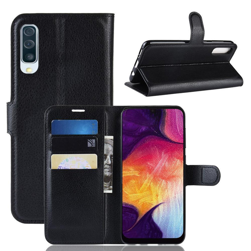 Samsung Galaxy A50 A50s A30s Wallet Case Cover PU Leather Black