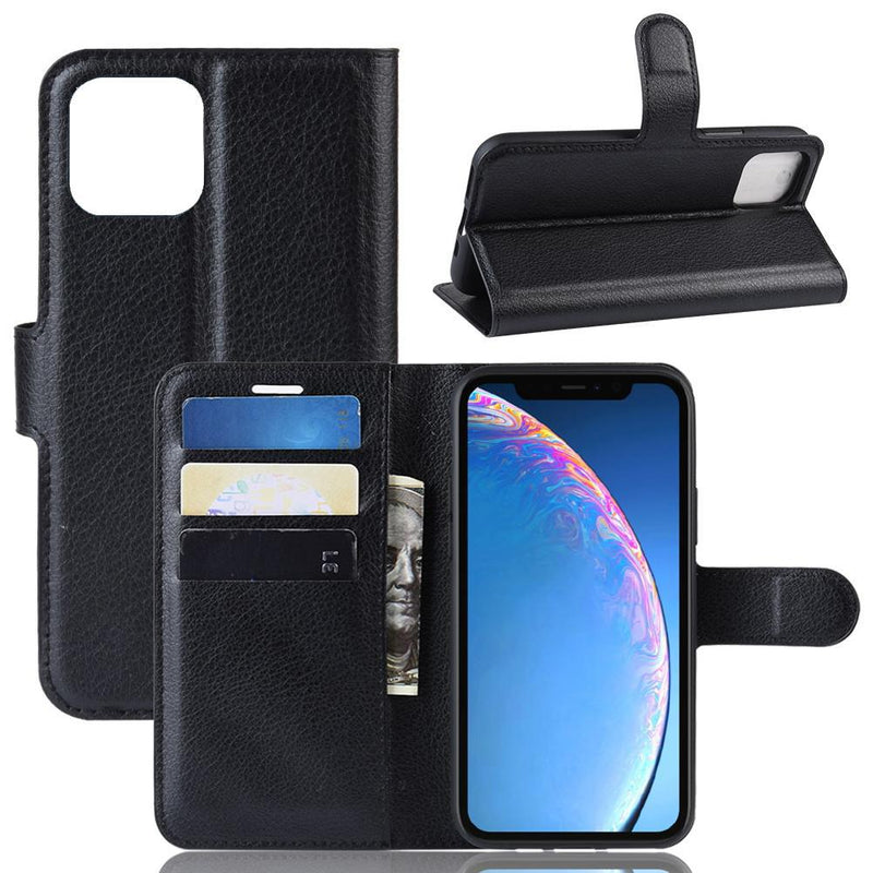 Apple iPhone 11 Pro Max Wallet Case Cover PU Leather Holder Card Slots Black