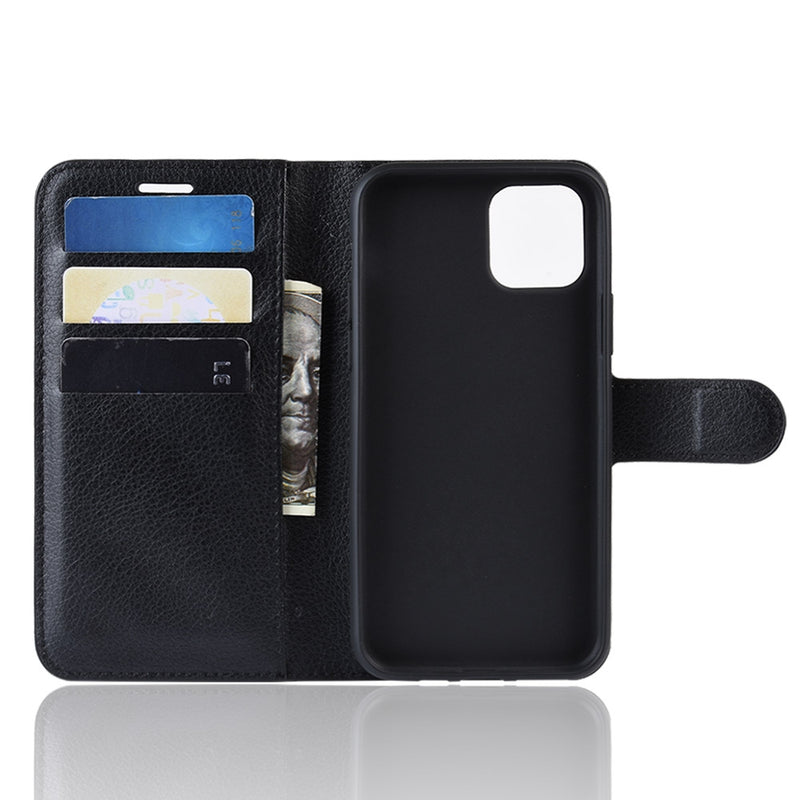 Apple iPhone 11 Pro Wallet Case Cover PU Leather Holder Card Slots Black