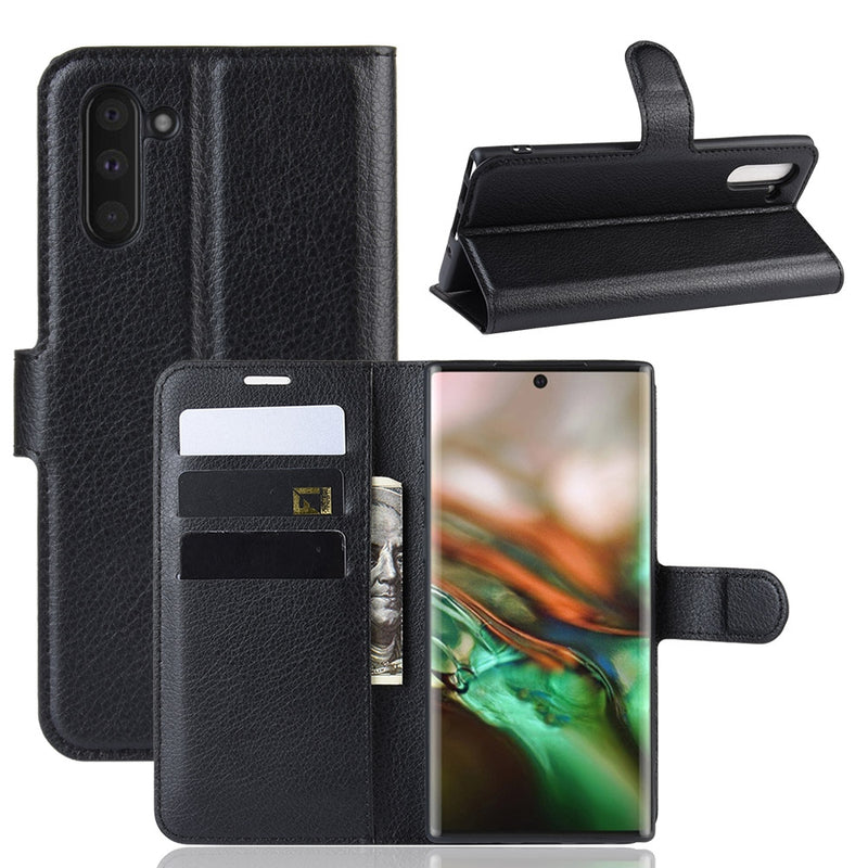 Samsung Galaxy Note 10 Wallet Case Cover PU Leather Black