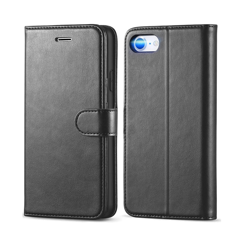 Apple iPhone 7 / 8 Wallet Case Cover PU Leather Holder Card Slots Black