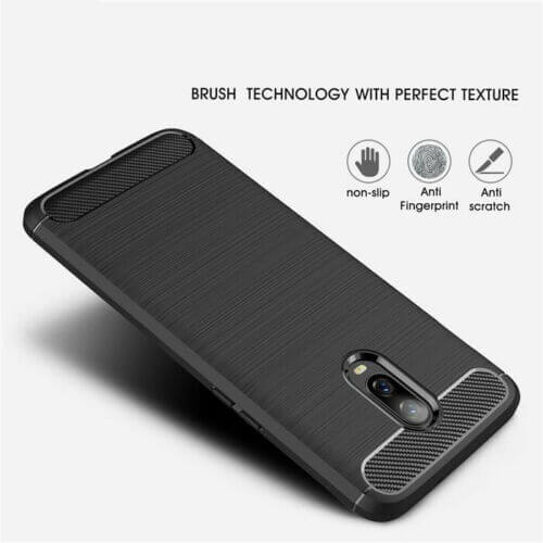 OnePlus 7 6T Carbon Fibre Design Case TPU Cover - Black