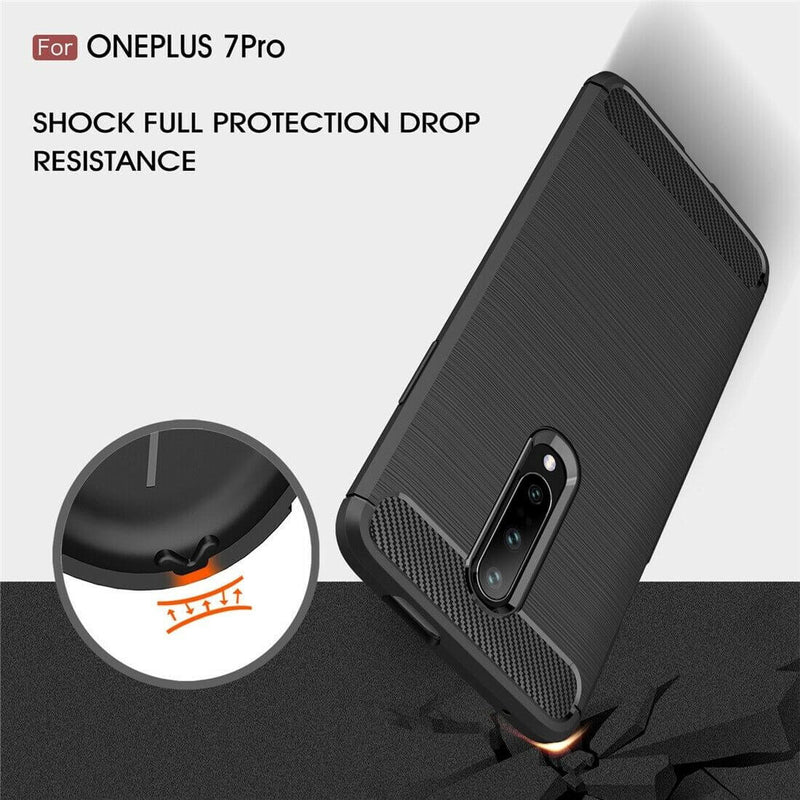 OnePlus 7 Pro Carbon Fibre Design Case TPU Cover - Black
