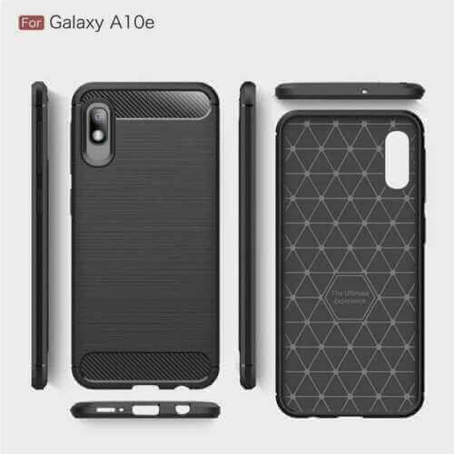 Samsung Galaxy A10e Carbon Fibre Design Case TPU Cover - Black
