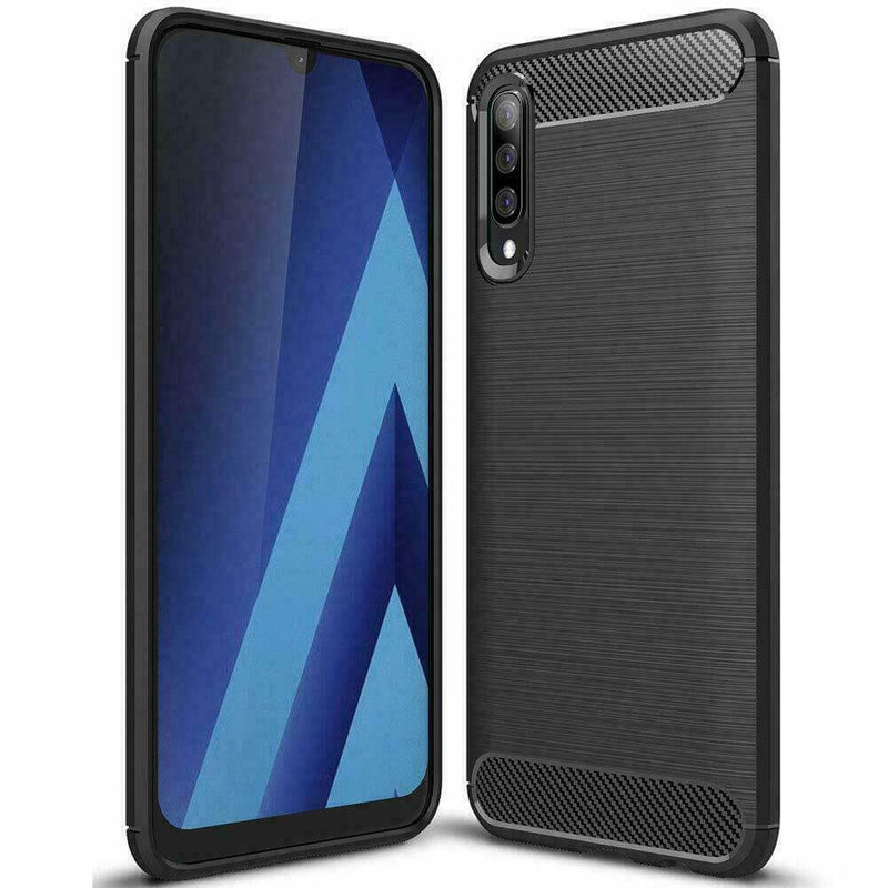 Samsung Galaxy A50 A50s A30s Carbon Fibre Design Case TPU Cover - Black