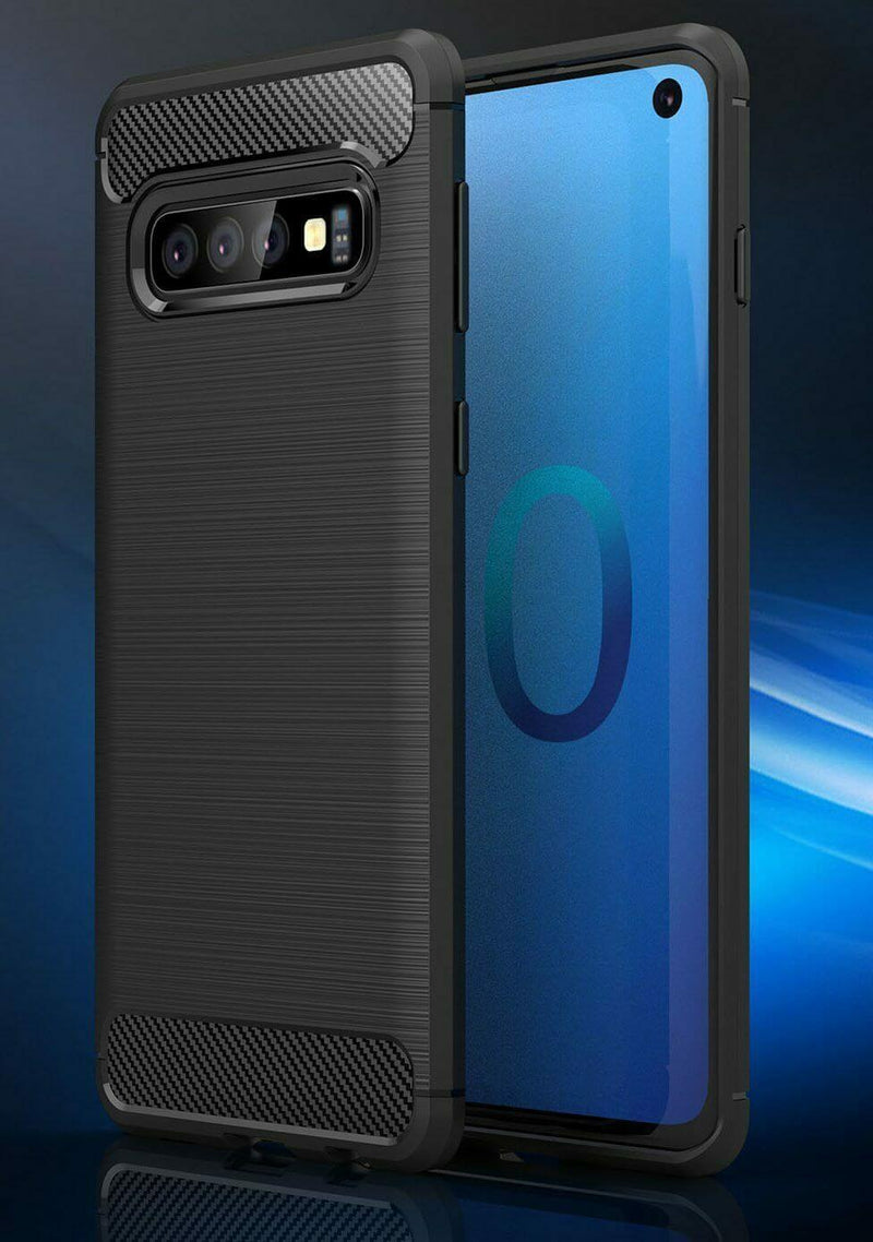 Samsung Galaxy S10 Carbon Fibre Design Case TPU Cover - Black