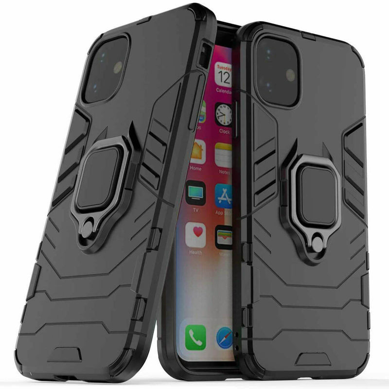 Apple iPhone 11 Luxury Armor Case Shockproof Cover Magnet Ring Holder - Black