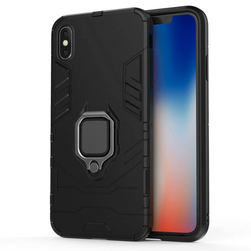 Apple iPhone X / XS Luxury Armor Case Shockproof Cover Magnet Ring Holder - Black