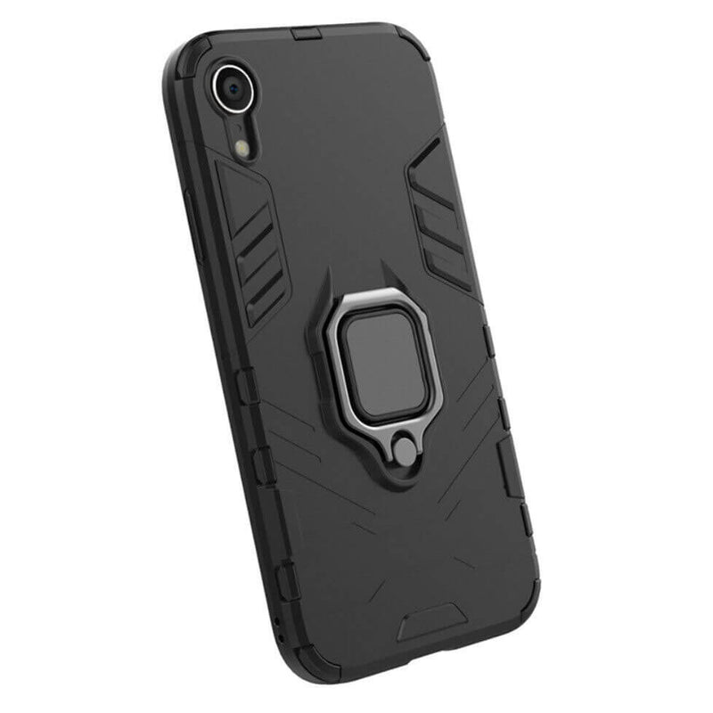 Apple iPhone XR Luxury Armor Case Shockproof Cover Magnet Ring Holder - Black