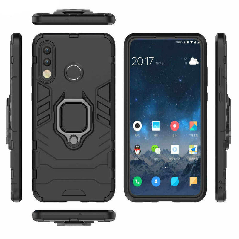 Huawei P30 Lite Luxury Armor Case Shockproof Cover Magnet Ring Holder - Black